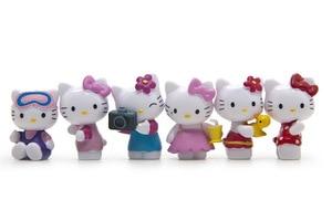 Image 2 - Cartoon Hello Kitty 6pcs/set Summer Day Kawaii 3.5CM Dolls Anime PVC Action Figure Children Gifts Free Shipping