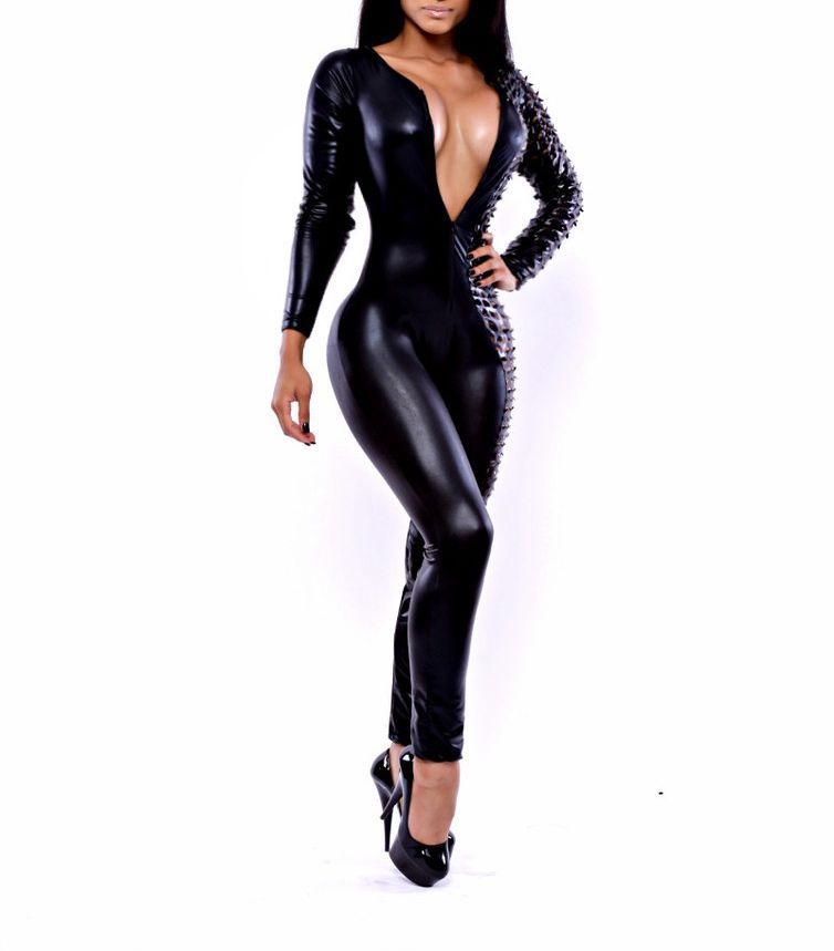 81be5b36859 New Women Sexy Black Wetlook 3D Crafted Long Sleeves Catsuit Jumpsuit  Bodysuit Bandage Clubwear on Aliexpress.com