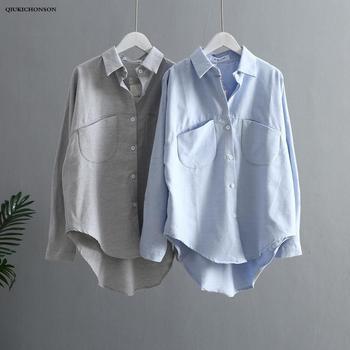 цена на Low High Design Cute Blouse Women Spring Autumn Ladies Tops Kawaii Double Pockets Long Sleeve Blouse Plus Size Women Shirts