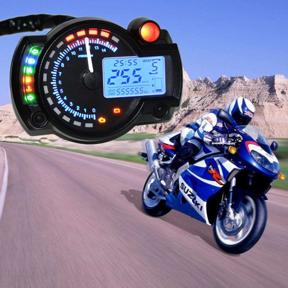 15000rpm Modern Motorcycle Digital font b Light b font LCD Digital Gauge Speedometer Tachometer Odometer Adjustable