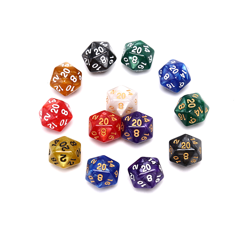 1PC  20 Sided Dice Durable Pearlized D20 Dice Acrylic for Board Game