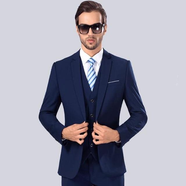 b3a74781514 2017 new men s suits business casual contracted joker wedding suit blazers  mens slim fit suit high quality (Jacket+Pants+Vest)
