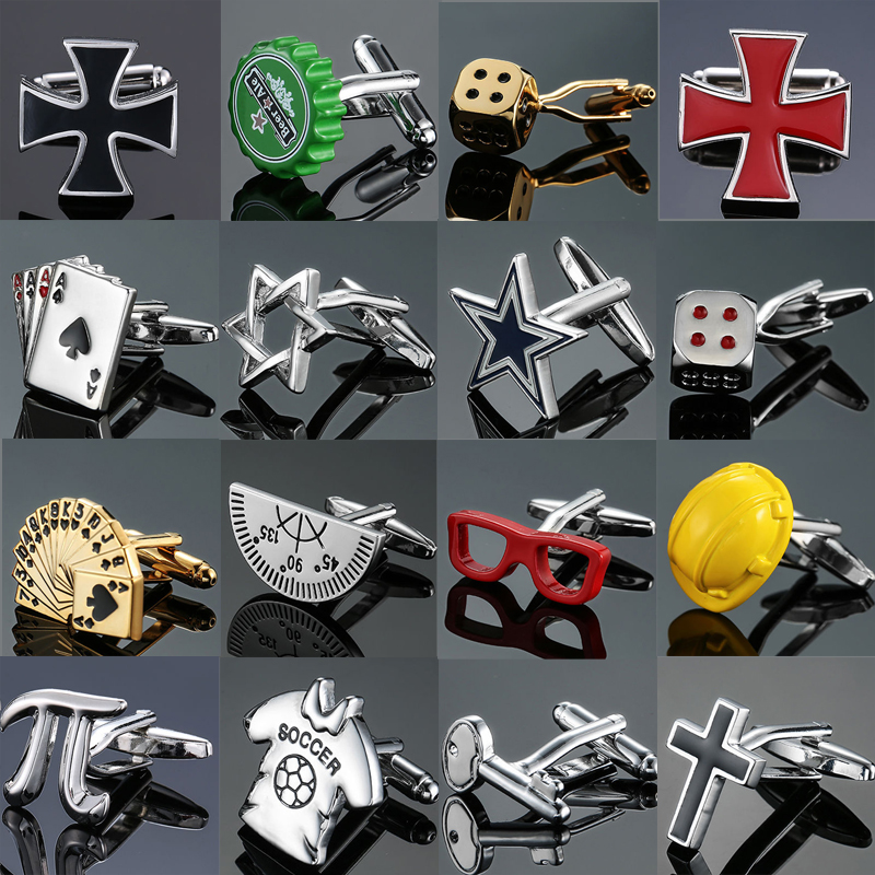 Factory Outlet Fashion Men's French Shirt Cufflinks Wholesale Crosses Playing Cards Dice 18 Kinds Of Design Cufflinks