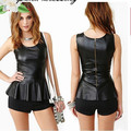 Free shipping  punk zipper  ruffle sweep tube top PU leather top