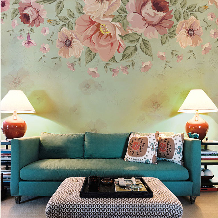 murals mural wall bedroom abstract painted living 3d flower hand retro walls background bacaz sticker paper