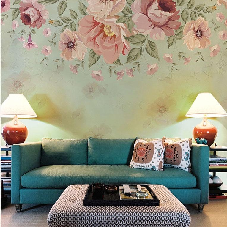 Bacaz 3D Wall Murals Wallpaper Retro Abstract Flower Mural