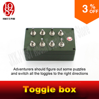 Room Escape Prop Toggle Box All Toggles In Right Directions To Light Up Metal Button To