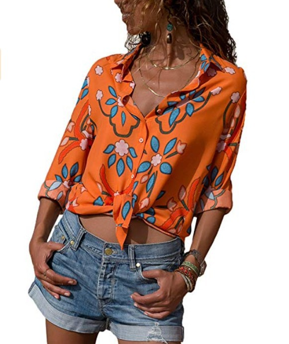 Womens Tops And Blouses Plus Size 4XL 5XL Long Sleeve Blusas Mujer De Moda 2018 Elegantes Florales Striped Print Women Blouse    1