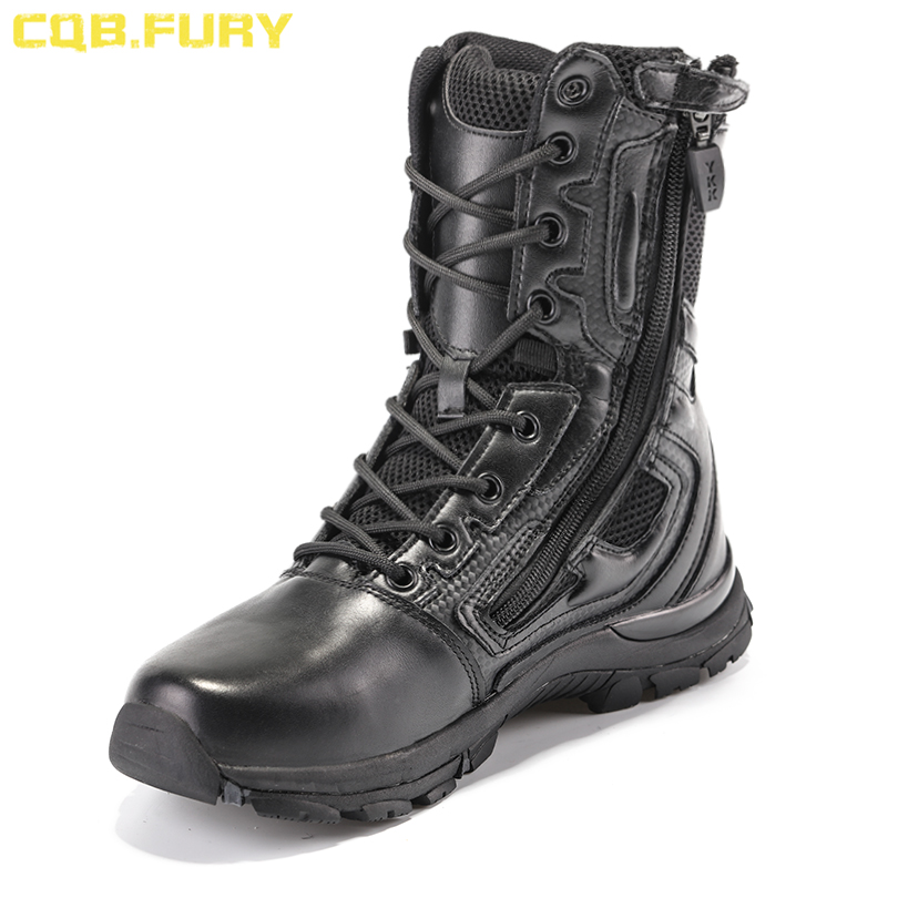 Men's Boots Cqb.fury Elite Spider Black Mens Combat Militaryboots Solid Breathable Tactical Zipperboots Microfiber Rubber Army Bootsize38-46 Shrink-Proof Motorcycle Boots