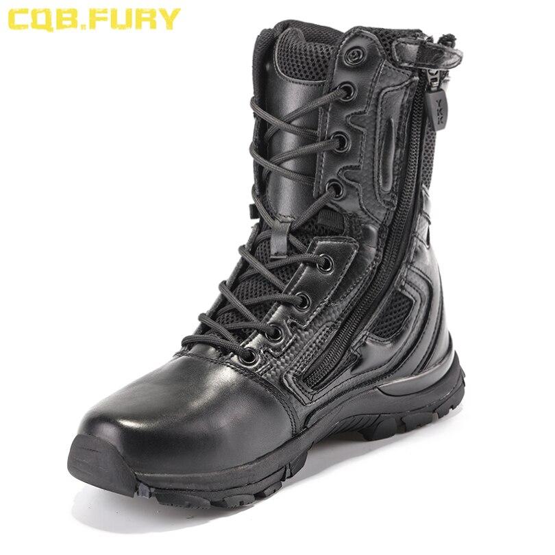 Cqb. fury 엘리트 스파이더 블랙 망 전투 militaryboots 솔리드 통기성 전술 zipperboots 마이크로 화이버 고무 육군 Bootsize38 46-에서오토바이 부츠부터 신발 의  그룹 1