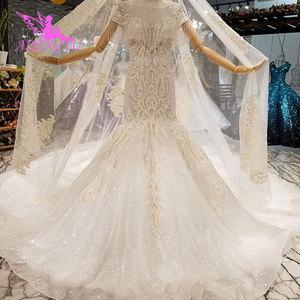 Image 3 - AIJINGYU Frocks düğün Couture abiye düğün 2021 2020 ipek kırpma üst türkiye hint uzun tren cüppe şeklinde gelinlik Vintage