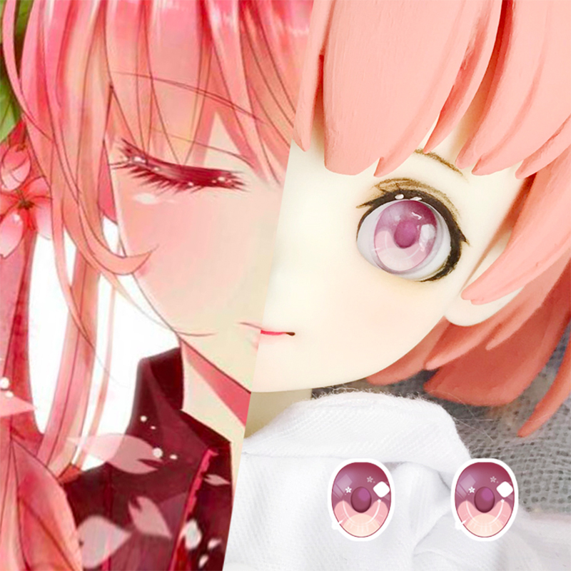 BJD Eyes Pressure Eyes 10mm-12m-14mm-22mm Pink Cartoon Eyes For 1/8 1/6 1/4 1/3 BJD SD Doll Accessories For Photos