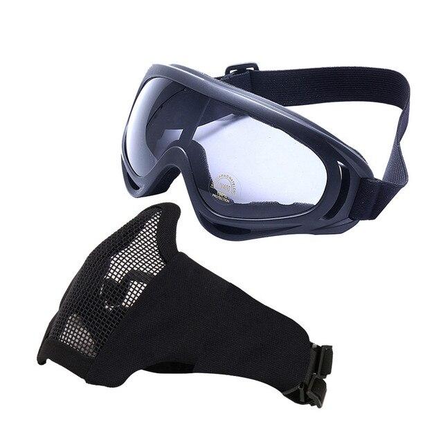 b99162d86d353 Máscaras de Airsoft-Ajustável Metade De Metal Máscara De Malha de Aço E  UV400 Óculos