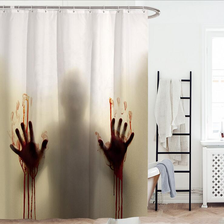 DisDing Bloody Shower CurtainHelp Me With Hands Horror Scary SpookyWaterproof Bath Curtains Bathroom Decor Hooks