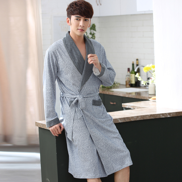 b97ce63abb New Arrival Fashion Winter Autumn Casual Cotton Satin Silk Male Nightwear Men  Bathrobe Belt Elegant Bathroom Spa Thick Men Robe