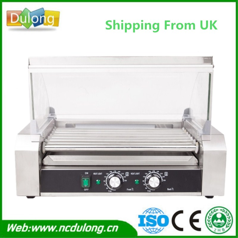 Commercial 11 rollers Sausage Heating Machine Electric Breakfast Teppanyaki Grill Hot Dog Kebab Stainless Steel Hot Dog Maker hot dog grill machine roast sausage grill maker stainless steel hotdog maker cooker with 5 rollers
