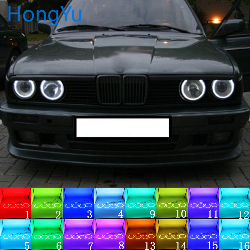 Latest Headlight Multi-color RGB LED Angel Eyes Halo Ring Eye DRL RF Remote Control For BMW E30 E32 E34 1984-1990 Accessories