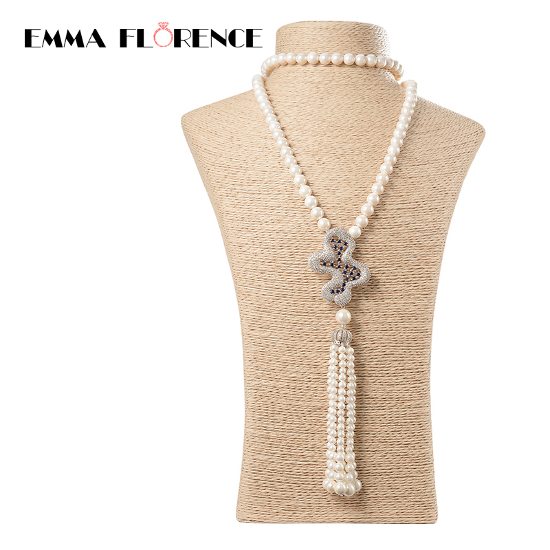 2018 High Quality Fashion Natural Shell Peal Beads long Tassel CZ Pendants Women Strand Necklaces Best gift Jewelry ...