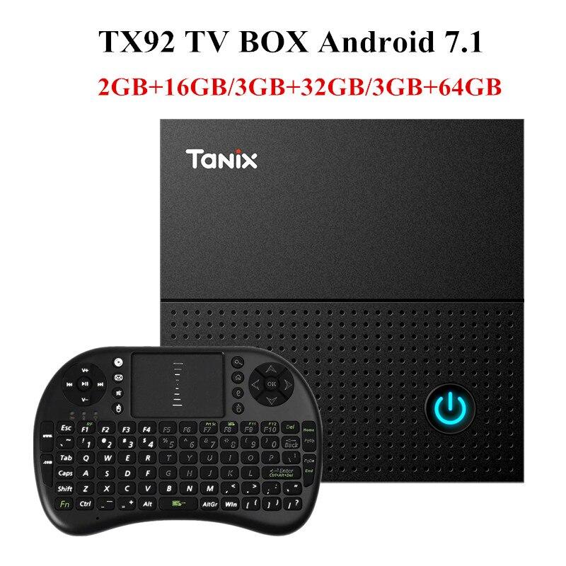 Tanix TX92 TV Box Amlogic S912 octa-core CPU Android 7.1 OS BT 4,1 1000 Mt LAN Max 3G RAM 64G ROM 2,4G/5G Wifi Smart TV Box