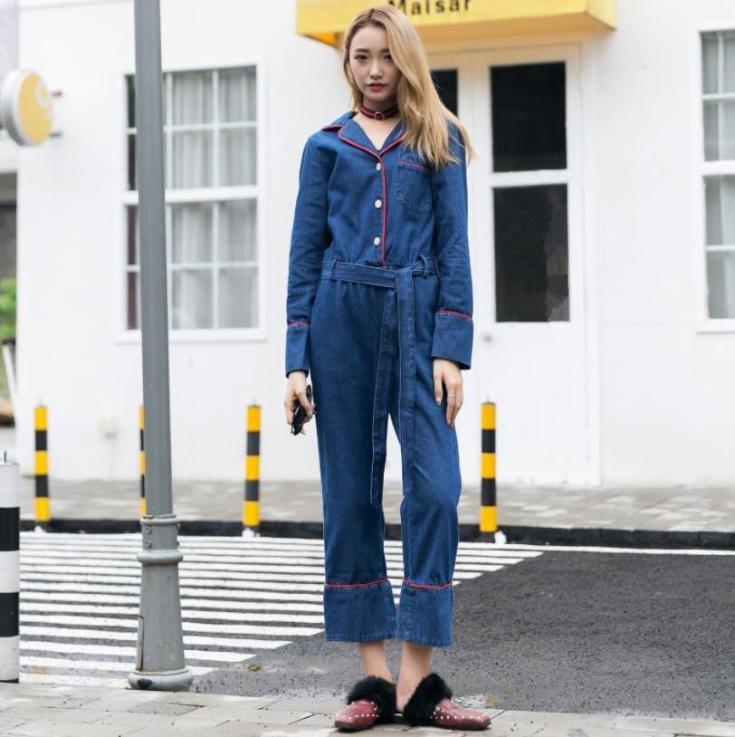 4f37d99411b Пикантные джинсовые женский комбинезон длинный рукав ремень демисезонный  джинсы для женщин комбинезон женский 2019 уличная Комбинезоны