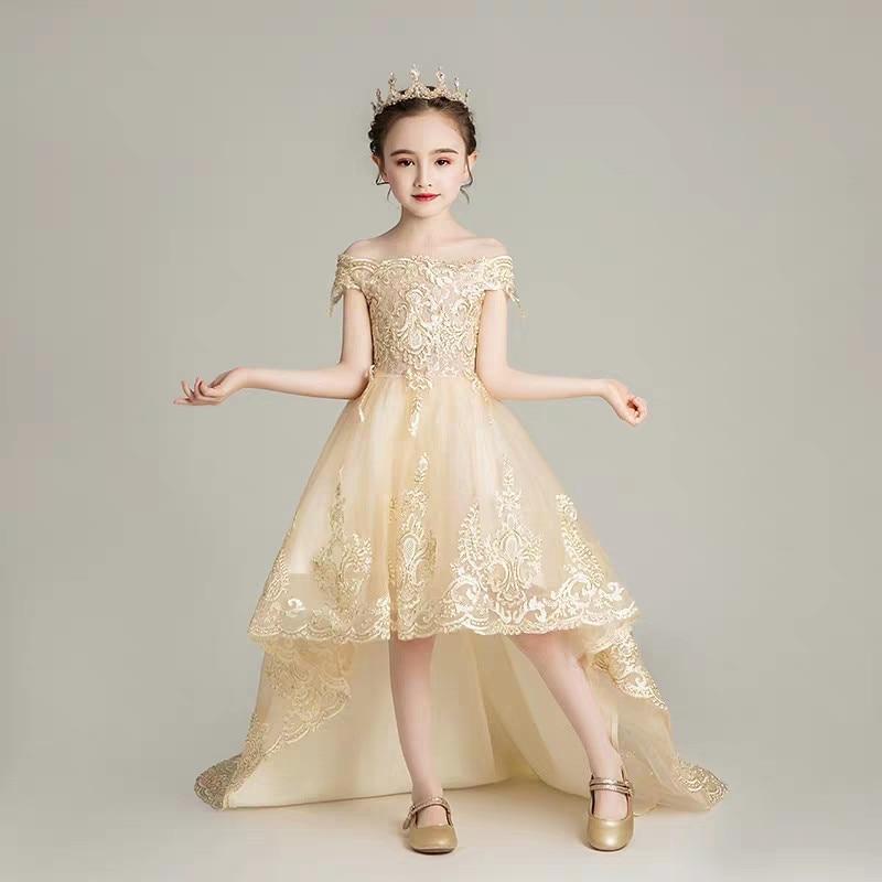 2019 été de luxe nouveaux enfants modèle montrer Catwalk longue queue dentelle robe filles enfants élégant Champagne anniversaire soirée robe de soirée