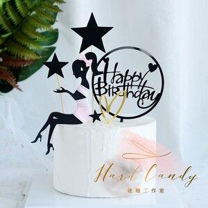"""Image 1 - Elegante Dame Schnurrbart Top Hut Bogen knoten Laser """"Happy Birthday"""" Kuchen Topper für Party Dekoration Dessert schöne geschenke"""