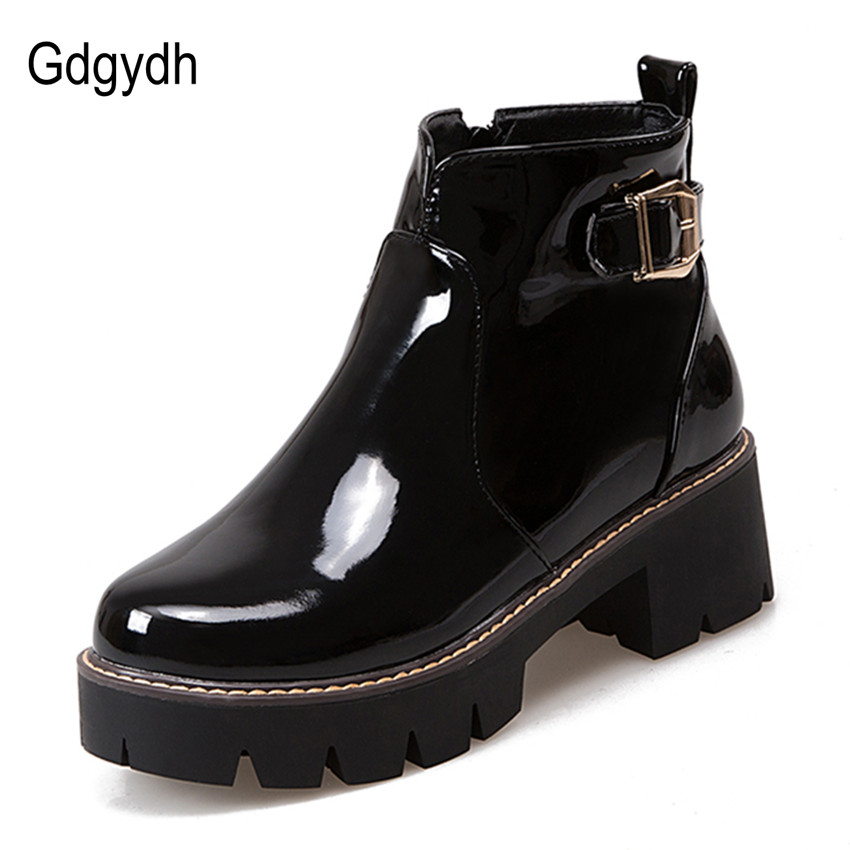 ФОТО Gdgydh Black Patent Leather Women Ankle Boots 2017 Spring Chunky Customize Round Toe Side Zipper Casual Shoes Woman Big Size 43