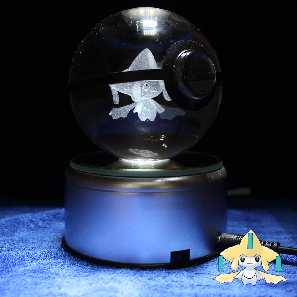 Dropping Nice 3D Pokemon Go Crystal Ball Engraving Jirachi Sculpture Games Fans Souvenirs