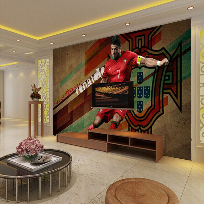 3d large mural tv background wall paper bedroom c ronaldo for Home decor 3d wallpaper