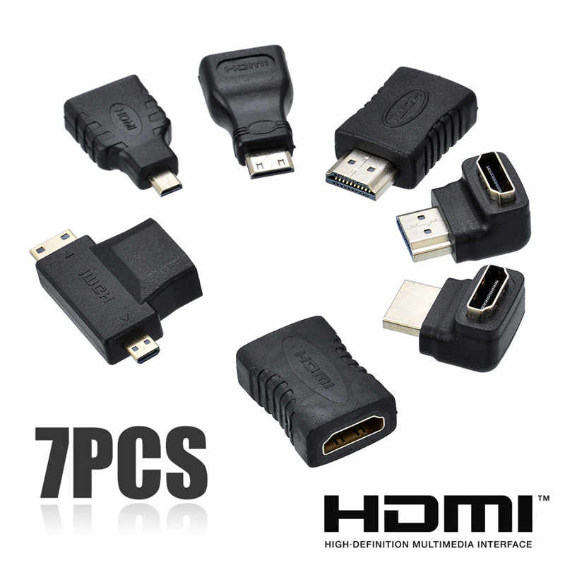 7pcs 2 in 1 HDMI Adapter kit Hoge Kwaliteit HDMI Mini Micro Adapter Extender Converter Connector Kits voor HDTV