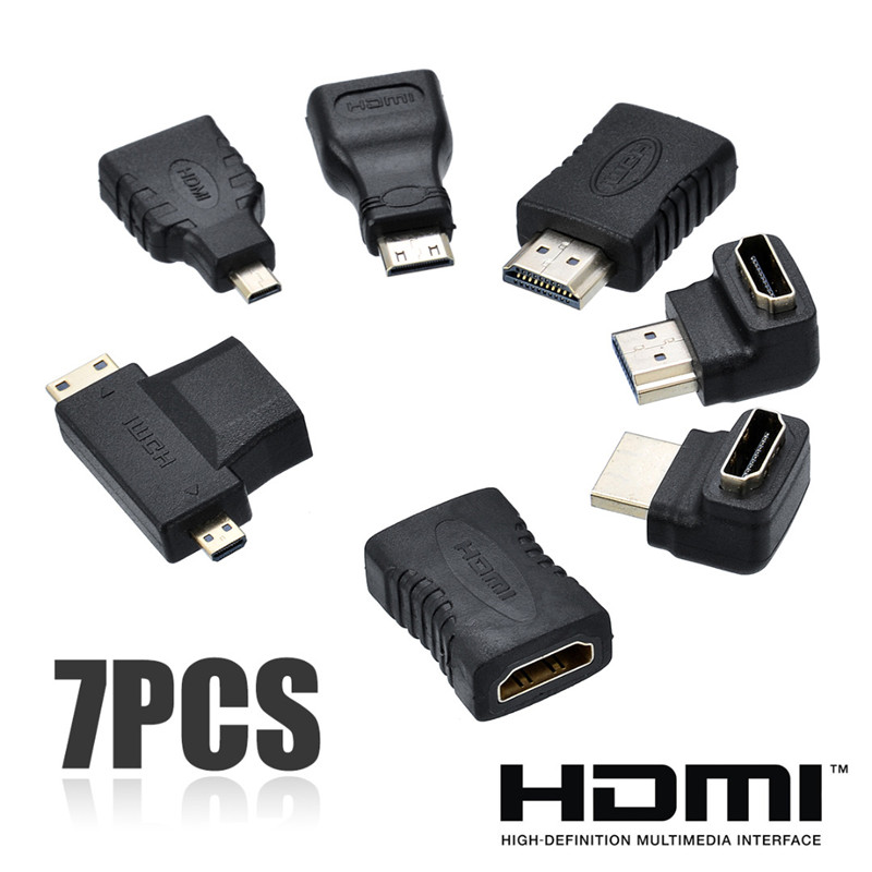7pcs 2 in 1 HDMI Adapter kit High Quality HDMI Mini Micro Adapter Extender Converter Connector Kits for HDTV