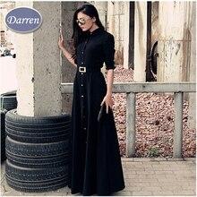Yeni Yoldam Ince Kat Uzunluk Düğme Uzun Elbise Hanım İlkbahar Sonbahar Uzun Kollu Moda Kısa Siyah Elbiseler Müslüman Bayanlar
