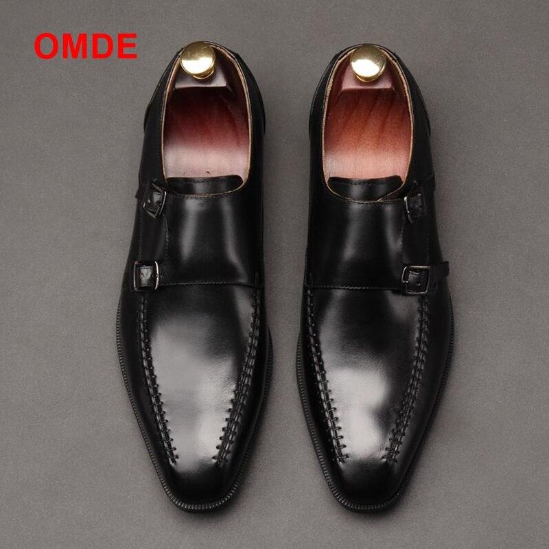 OMDE Новое поступление из натуральной кожи формальная обувь Для мужчин Платье ручной работы обувь Double Monk Strap Мужская обувь без застежки кожан