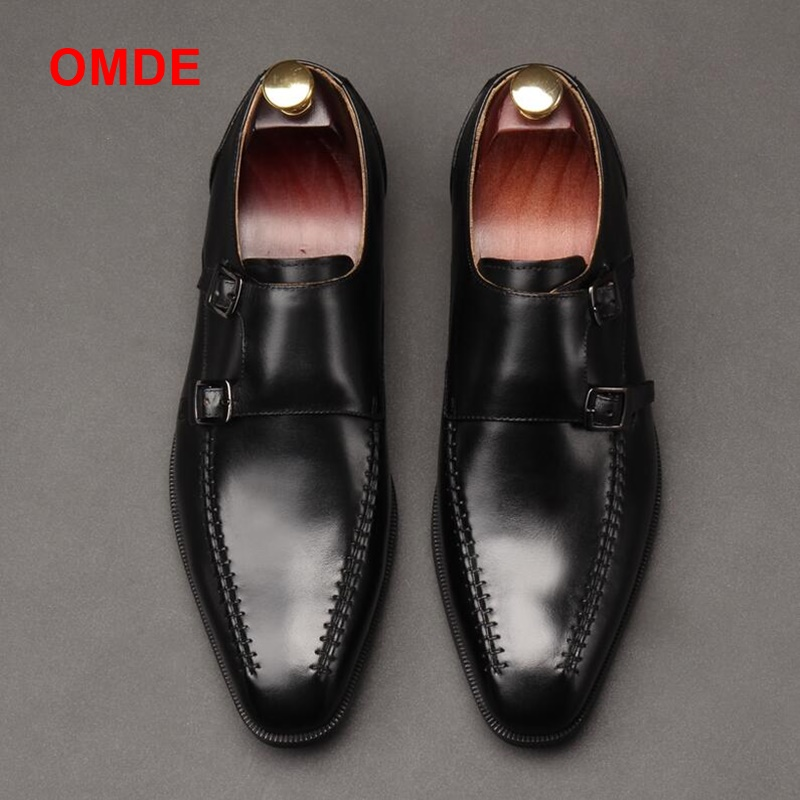 цена на OMDE New Arrival Genuine Leather Formal Shoes Men Handmade Dress Shoes Double Monk Strap Man Shoes Slip-on Leather Loafers