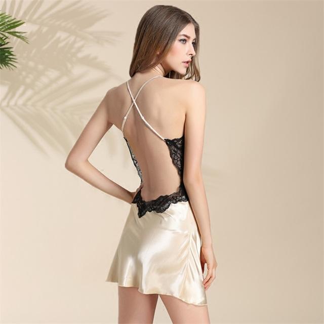 2016 Lingerie Sexy Sexy Lace Halter Curto Feminino Camisola Estilingue Fêmea Extrema Tentação de Seda Sleepwear Sexy Camisolas De Cetim