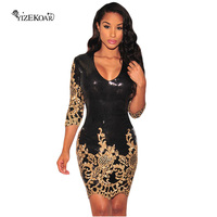 Hot Selling Fashion Women Office Mini Dress Autumn 2017 Vintage Black Gold Sequins 3 4 Sleeves