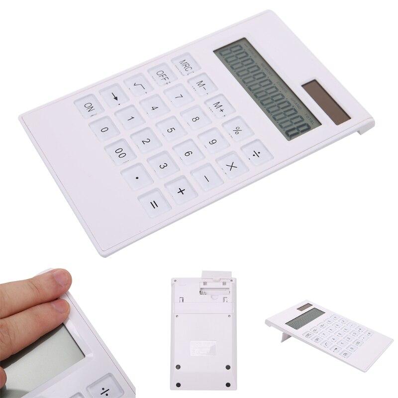 Новый творческий Тонкий 12 digital калькулятор Dual Питание солнечной энергии хрустальный ключ калькулятор высокого качества.