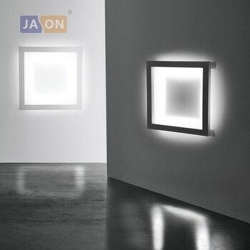 Lámpara LED moderna geométrica de hierro acrílico negro blanco LED lámpara LED de luz de pared lámpara de pared para tienda de dormitorio