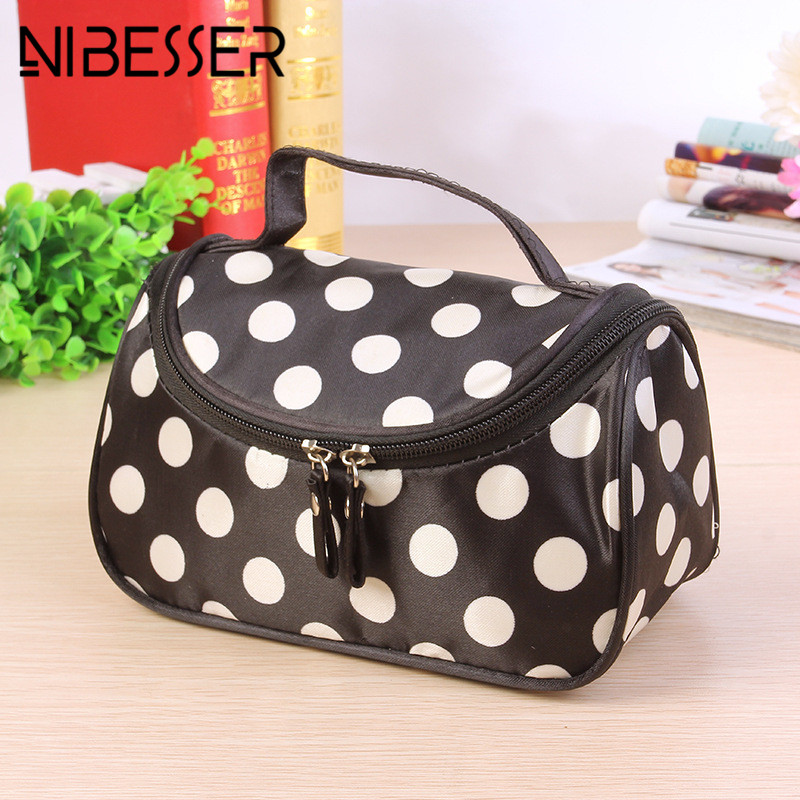 NIBESSER Dot Cosmetic Bag Lady Travel Organizer Portable Beauty Pouch Toiletry Zipper Bag 2017 New Makeup Make Up Wash Bag