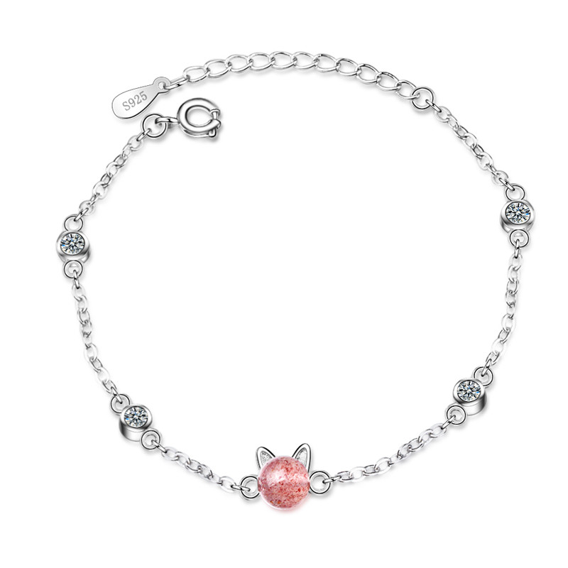 TJP Luxury Crystal Pink Cat Girl Bracelets Jewelry Women Trendy 925 Sterling Silver Bracelets For Lady Christmas Party Bijou Hot in Charm Bracelets from Jewelry Accessories