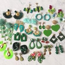 Bestessy ZA Fashion Geometric Big Dangle Earrings For Women Green Color Vintage Statement Long Drop Earring 2019 Boho Jewelry