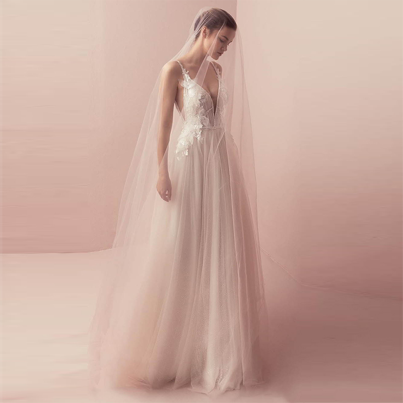 Verngo 2019 A-line Wedding Dress Appliques Tulle Wedding Gowns Spaghetti Straps Bride Dress Long Dress Vestidos De Noiva