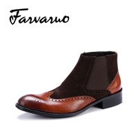 Farvarwo Genuine Leather Winter Ankle Boots Men S Chelsea Dress Boot Men Mixed Suede Flat Round