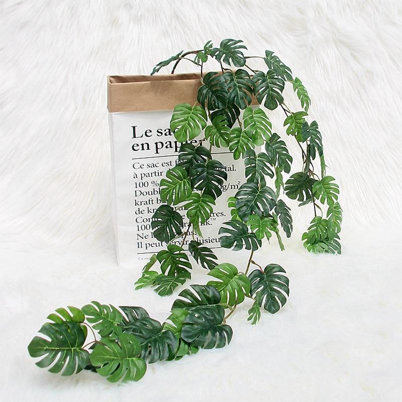 Artificial Plants Turtle Leaf Rattan Pine Needle Hanger Green Leaves Home Wedding Garden Decorative Fake Vine