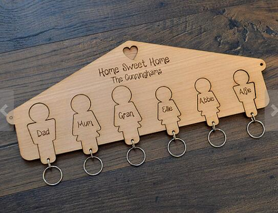 personalised House Warming Gift New Home Wood Rustic Hanging Heart First Family