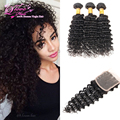 7A Bele Malaysian Deep Wave With Closure Deep Curly Malaysian Virgin Hair With Closure 3 Bundles And Closure New Arrival