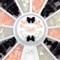 Ferramentas de beleza da arte do prego brilho decoração 3d bow tie pérola roda suprimentos unhas ferramentas branco preto cor de rosa