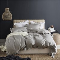 WINLIFE Korean Ruffle Lace Bedding Set Light Gray Girls Duvet Cover with Pillow Shams