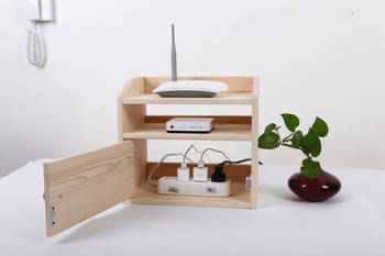 Wooden Desk Organizer Wifi Router Storage Box Shelf Cable Holder Cord Outlet Board Container Wire Safety Tidy Home Office 1