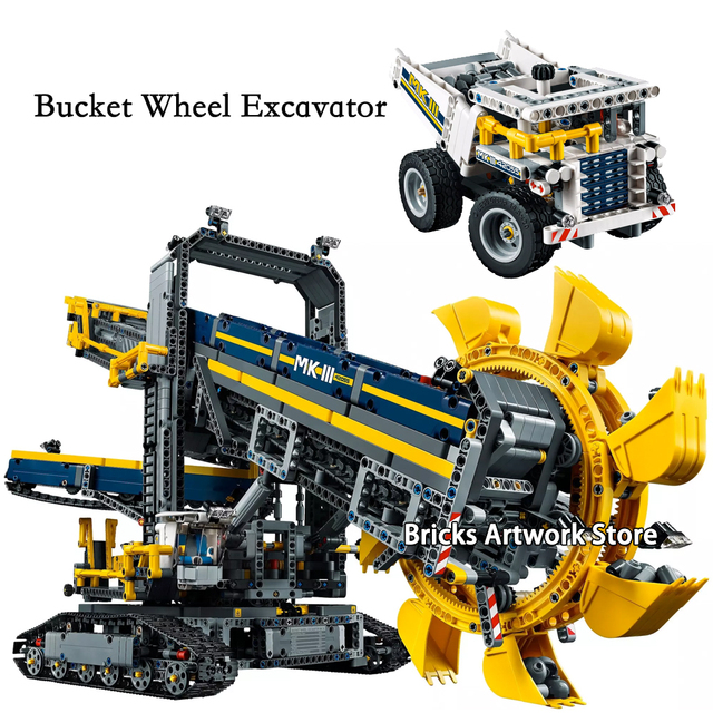 2o nf 3927PCS Fit 42055 Bucket Wheel Excavator Set Truck Machine Monster Model Building Blocks Toys for Kids Christmas Gifts